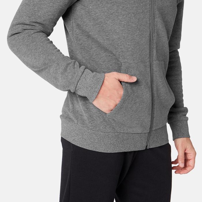 Veste à capuche zippée homme training 100 Gris Chiné