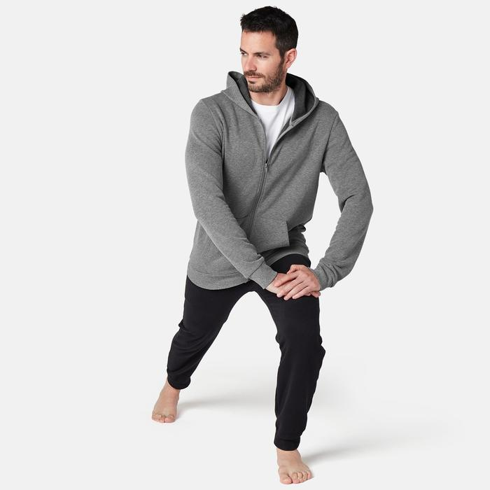 Heren hoodie met rits voor pilates en lichte gym gemêleerd grijs