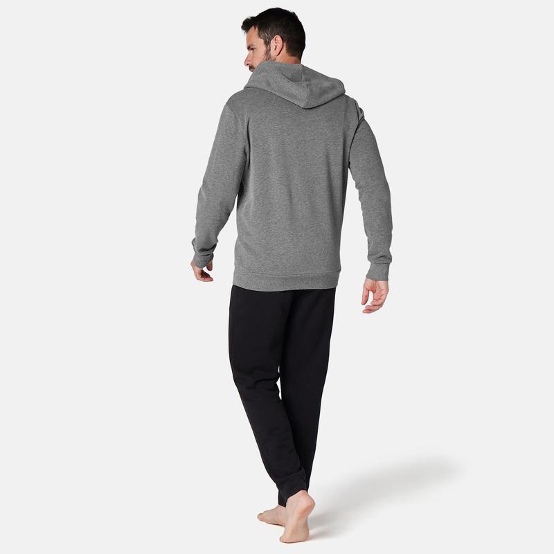 Men's Hooded Zip Jacket - Mottled Grey