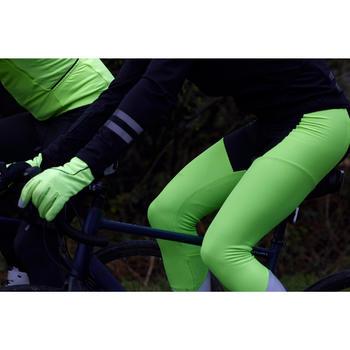 Lange fietsbroek met bretels RC500 fluogeel zichtbaarheid volgens EN1150