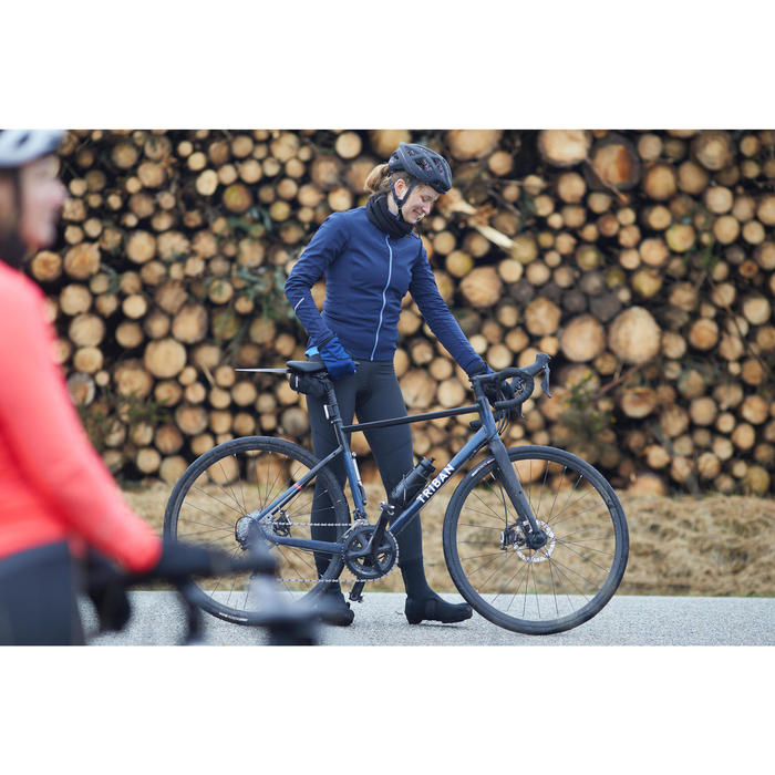 Fahrrad Winterjacke Rennrad RC 500 Damen blau