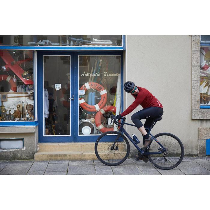 Fietsshirt met lange mouwen heren recreatief fietsen RC900 merinowol bordeaux