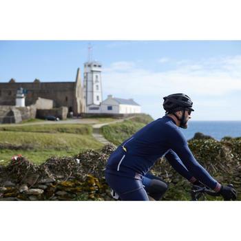 Fietsshirt met lange mouwen voor heren recreatief fietsen RC900 merinowol blauw