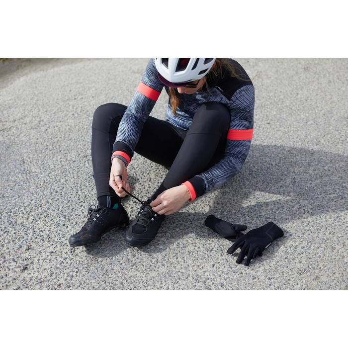 Wielershirt dames RC500 met lange mouwen zwart/roze