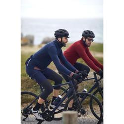 MAILLOT MANCHES LONGUE VELO ROUTE TRIBAN CYCLOTOURISTE RC900 MERINOS BLEU
