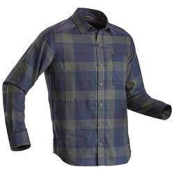 Men's warm trekking travel shirt - TRAVEL 100 - Green