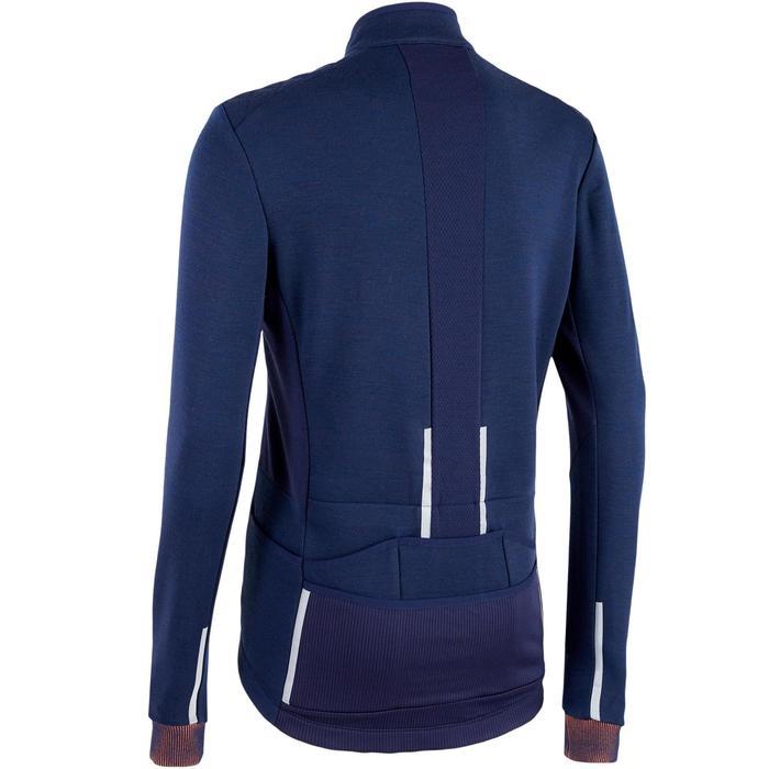Fietsshirt met lange mouwen voor heren recreatief fietsen RC900 merinoswol blauw