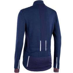 MAILLOT VELO ROUTE MANCHES LONGUES HOMME CYCLOTOURISTE RC900 MERINOS BLEU TRIBAN