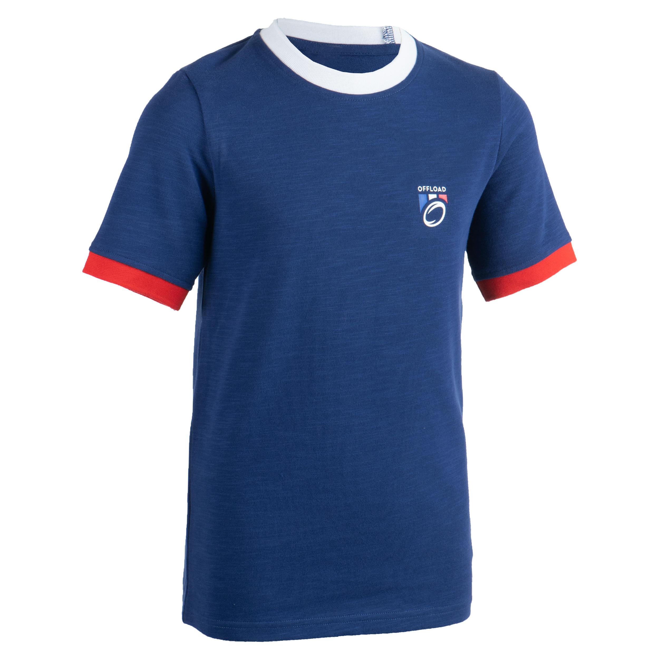 T shirt rugby supporter rugby 2019 france junior bleu offload