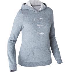 Dames hoodie voor pilates en lichte gym 520 grijs