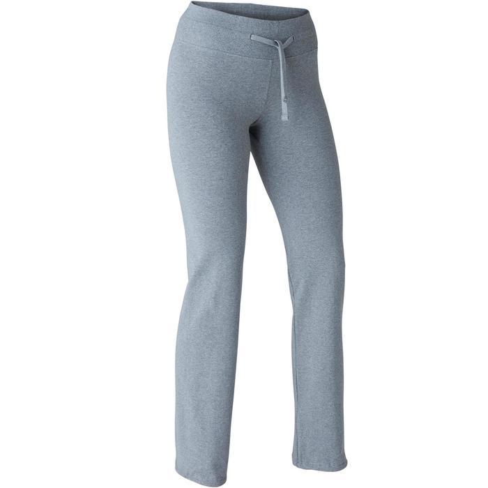 女款標準剪裁皮拉提斯與溫和健身緊身褲500 Comfort+ - 雜灰色