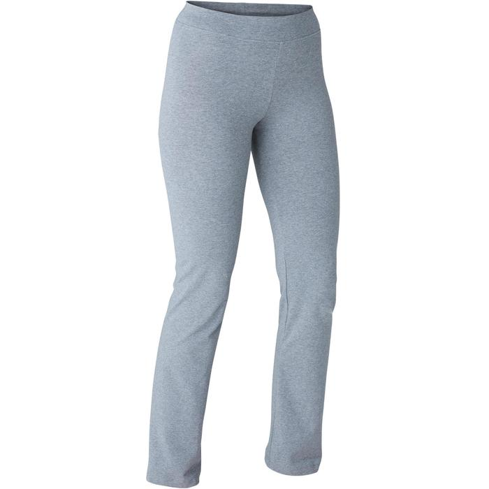 Mallas Leggings Deportivos Gimnasia Pilates Domyos FIT+500 Regular Mujer Gris