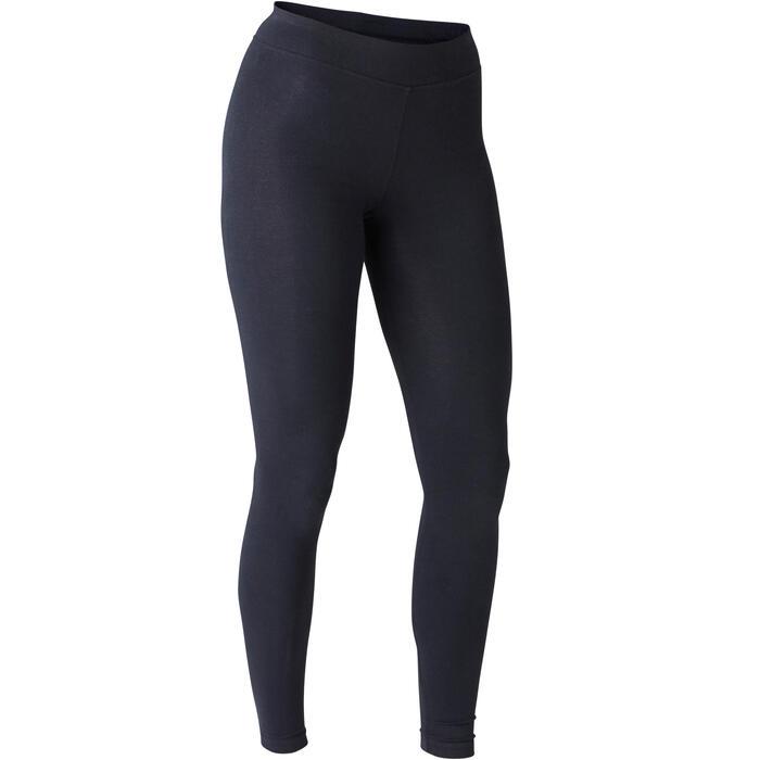 女款修身剪裁皮拉提斯與溫和健身緊身褲500 Fit+ - 黑色