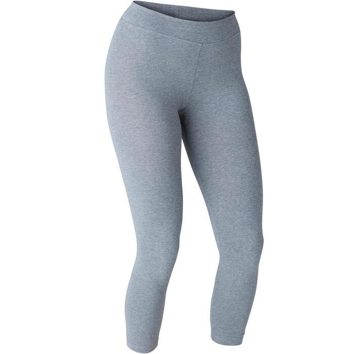 Leggings 7/8 FIT+ 500 slim Pilates y Gimnasia suave mujer gris jaspeado