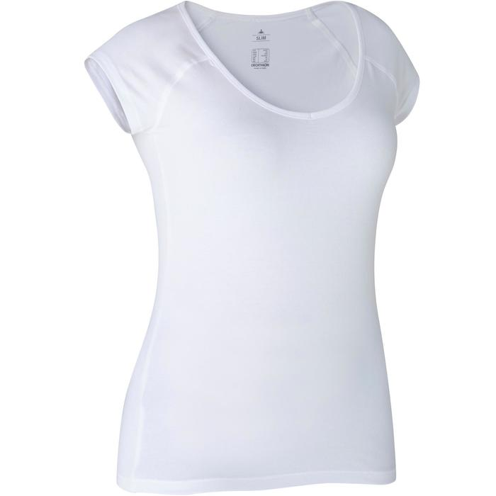 T-shirt 500 slim fit pilates en lichte gym dames wit