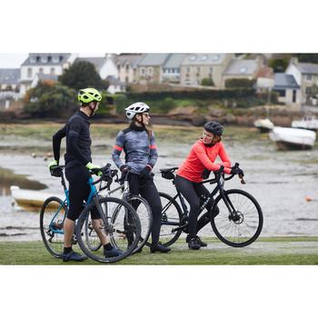 Maillot manches longues vélo route femme 500 noir rose
