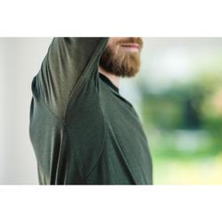 Camiseta lana merina ML regular Pilates Gimnasia suave hombre caqui