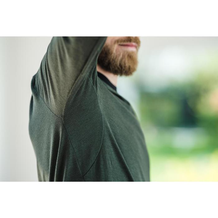 T-Shirt laine merinos ML regular Pilates Gym douce homme kaki