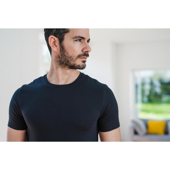 修身剪裁健身與皮拉提斯T恤500 - 黑色
