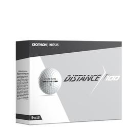 Bola de golf DISTANCE 100 x12 blanco