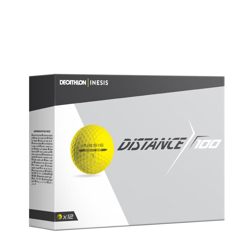 Distance 100 Golf Ball x12 - Yellow