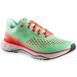 女款跑鞋KIPRUN KD LIGHT - 綠色珊瑚紅
