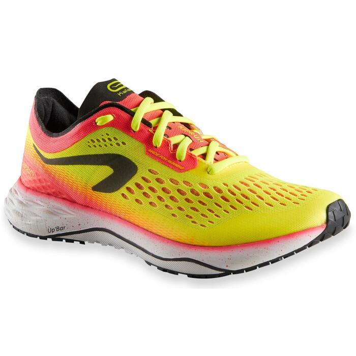 Hardloopschoenen voor dames Kiprun KD Light geel/koraal