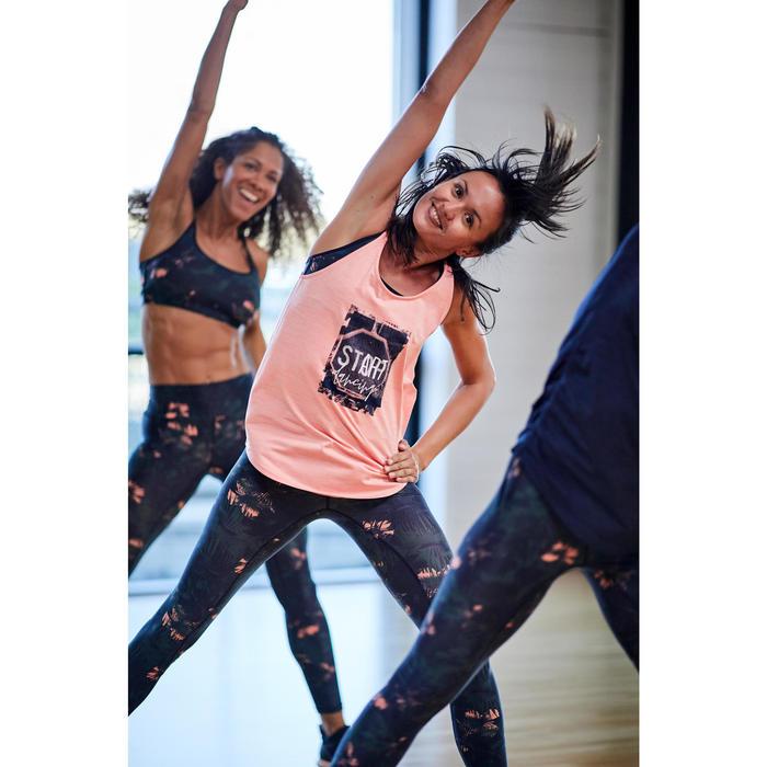 Legging voor dans-workouts dames groen/roze print