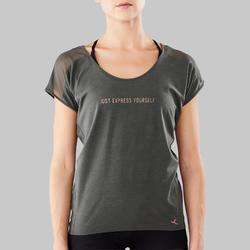 Camiseta Manga Corta de Danza Moderna Domyos Mujer Verde Oliva