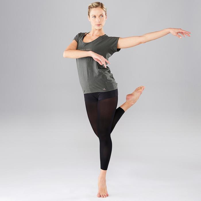 T-shirt met tekst voor moderne dans dames olijfgroen/zwart