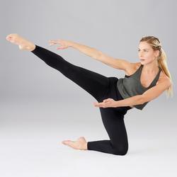 Topje voor moderne dans dames olijfgroen/zwart