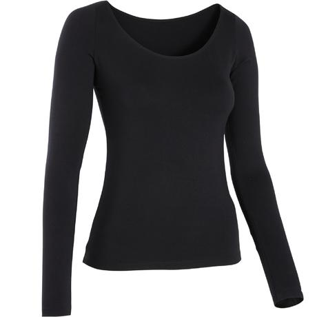 6a4b6ba6990a79 T-shirt voor moderne dans dames lange mouwen zwart | Domyos by Decathlon