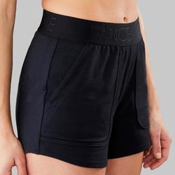 Short voor moderne dans dames zwart elastische tailleband