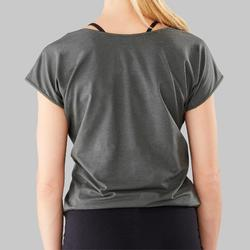 T-shirt voor moderne dans dames olijfgroen/zwart met tekst