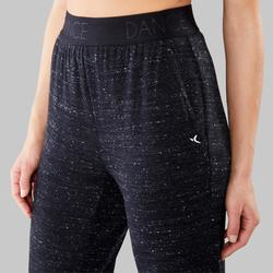 Soepele broek voor moderne dans dames gemêleerd zwart