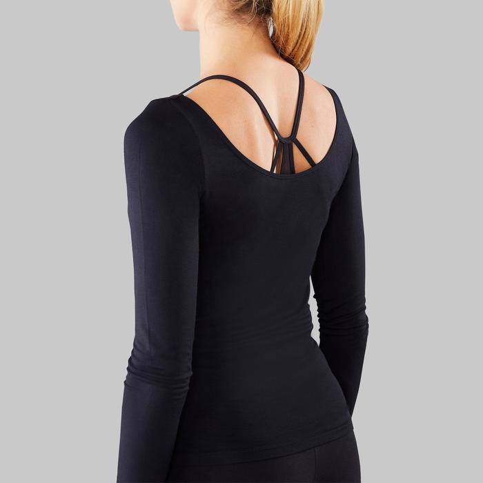 Camiseta danza moderna negra manga larga mujer