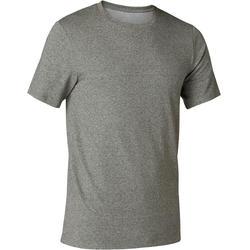 Camiseta 500 Slim Pilates y Gimnasia suave hombre verde jaspeado