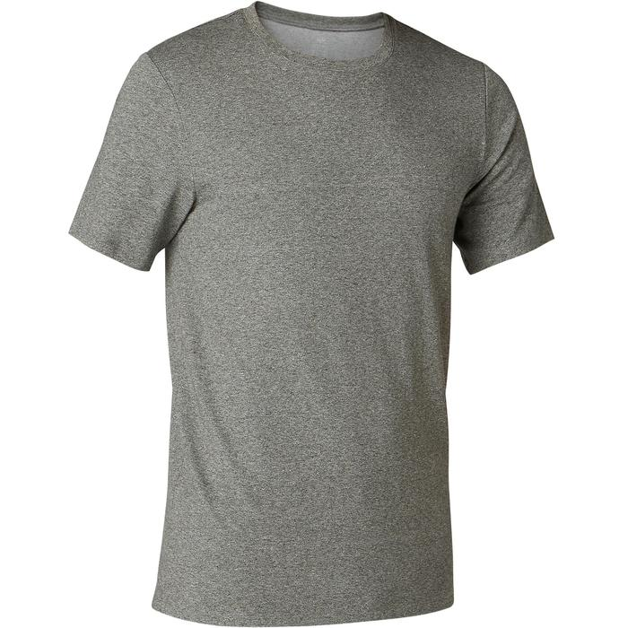 T-Shirt 500 Slim Pilates sanfte Gymnastik Herren grünmeliert