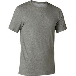 T-Shirt 500 slim Pilates Gym douce homme vert chiné