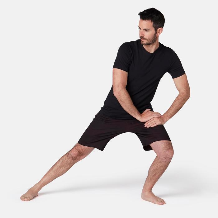 Herenshort voor pilates/lichte gym 520 regular fit bordeaux/print