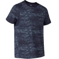 T-Shirt voor pilates/lichte gym 540 Free Move marineblauw met print