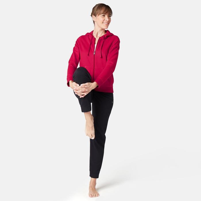 Dames hoodie met rits voor pilates en lichte gym 520 donkerrood