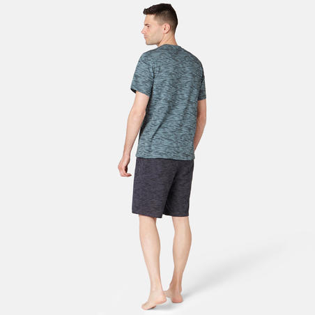 T-shirt500 régulier pilates et gym douce homme gris imprimé