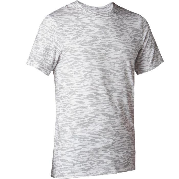 Heren T-shirt voor pilates en lichte gym 500 slim fit wit met print