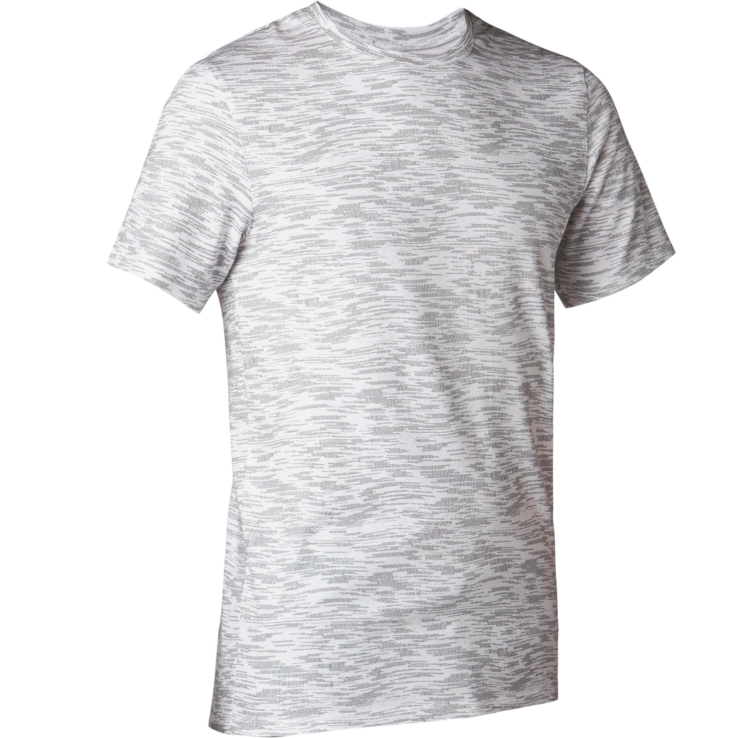 T-Shirt 500 Slim Pilates sanfte Gymnastik Herren weiß mit Print | Sportbekleidung > Sportshirts > Poloshirts | Weiß | Domyos