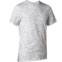 T-Shirt 500 slim Pilates Gym douce homme blanc printé