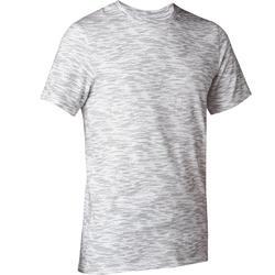 T-Shirt 500 slim Pilates Gym douce homme blanc printé