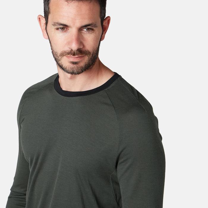 Langarmshirt Merinowolle Regular Pilates sanfte Gymnastik Herren khaki