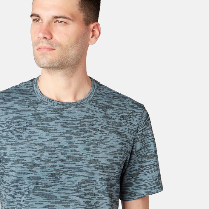 Heren T-shirt voor pilates en lichte gym 500 regular fit grijs met print