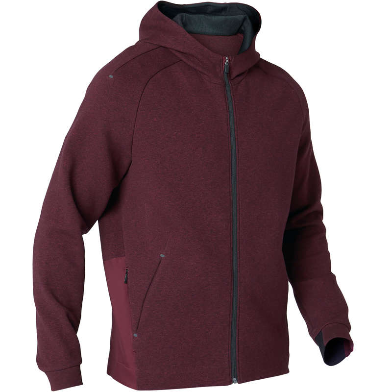 MAN GYM, PILATES COLD WEATHER APPAREL Snowboarding - 530 Hooded Gym Jacket Burgundy NYAMBA - Snowboard Clothing